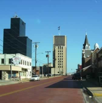 Tyler Texas downtown skyline, looking east