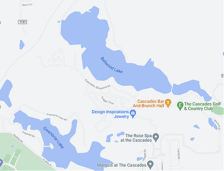 Map of Lake Bellwood and Lake Greenbriar in Tyler, Texas