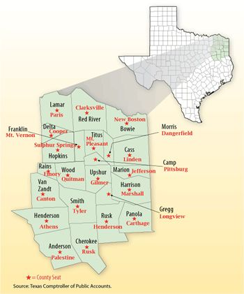 Map and List of East Texas Towns, Cities, Communities