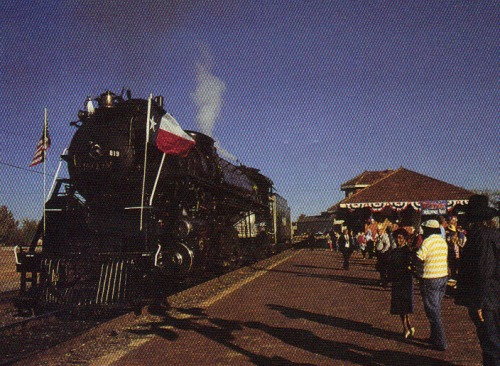 Restored Cotton Belt Engine #819 visits Tyler, Texas in 1988