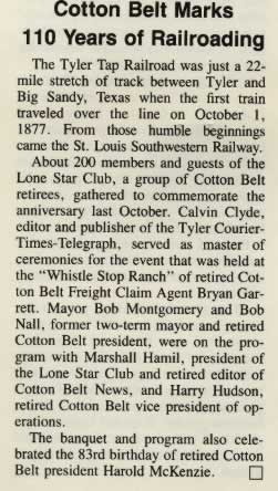 """Cotton Belt Marks 110 Years of Railroading"": Article from the SP Bulletin, Winter 1987-88 Edition"