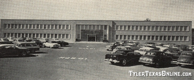 Cotton Belt's air conditioned general office building in Tyler, Texas, seen shortly after dedication in 1955. Costing $1.5 million with equipment, it contained three acres of floor space and boasted a 500-seat auditorium.