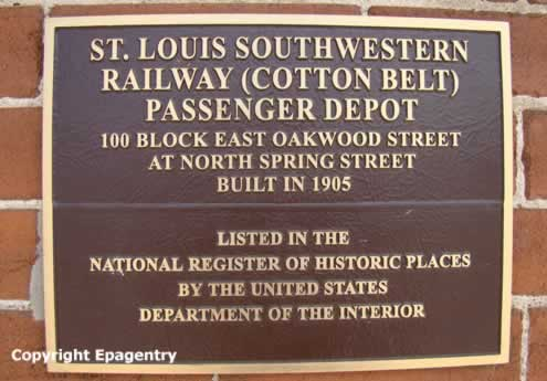Plaque on the St. Louis Southwestern Railway, the Cotton Belt, passenger depot in Tyler Texas ... on the National Register of Historic Places