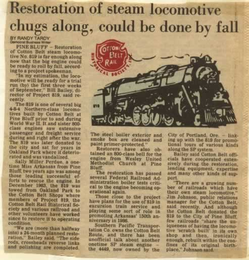 Newspaper article about the Cotton Belt Route Engine No. 819 restoration in Pine Bluff, Arkansas