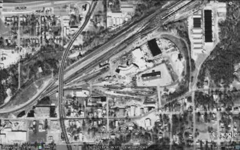 The Cotton Belt yards, Tyler, Texas, aerial view, 1995 (Google Maps)