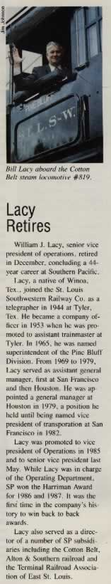 Article about the retirement of  William J Lacy, senior vice present of operations, from the Cotton Belt Route