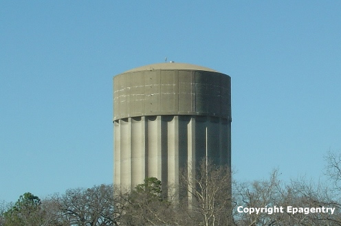 Concrete water tower, downtown Tyler, Texas, owned by the City of Tyler, still in use daily