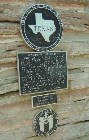 Historical marker marking Swedish immigants and log cabin, Austin, Texas