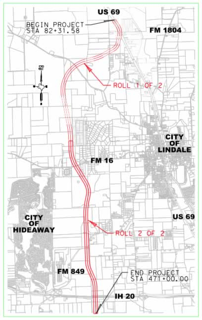Map of Texas Toll Loop 49 Lindale Relief Segment