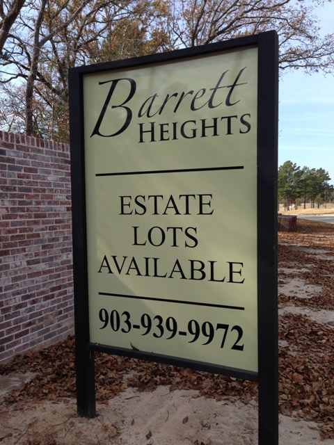 Entrance area to Barrett Heights subdivision, Tyler, Texas