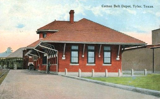 Historic postcard of the Cotton Belt Depot, Tyler, Texas