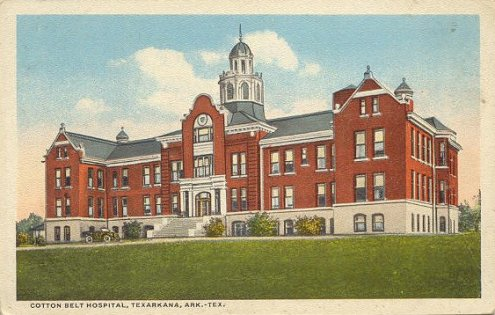 Vintage postcard of the Cotton Belt Hospital, Texarkana, Arkansas - Texas