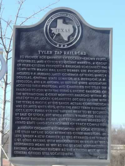 Tyler Tap Railroad Historic Marker in Tyler Texas ... route of the Cotton Belt