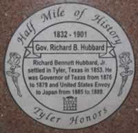 Tyler Half Mile of History ... plaque honoring Texas Governor Richard B. Hubbard