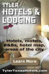 Tyler Texas hotels, B&Bs, inns, lodging, hotel map ... click to learn more