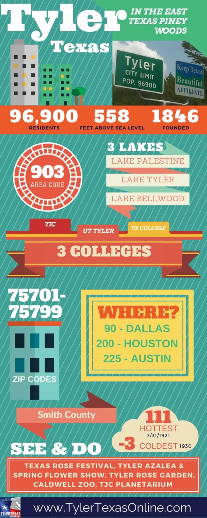 Tyler Texas infographic ... Pin to Facebook, Pinterest and other social media!