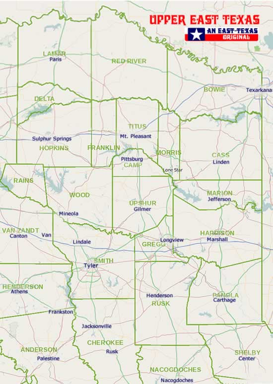 Map And List Of East Texas Towns Cities Communities Counties - Map of texas showing major cities