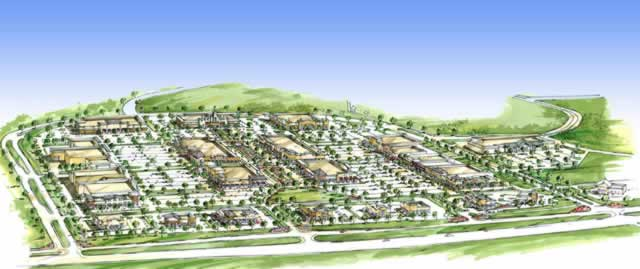 Drawing of an aerial view of The Village at Cumberland Park, South Broadway at Loop 49, Tyler, Texas